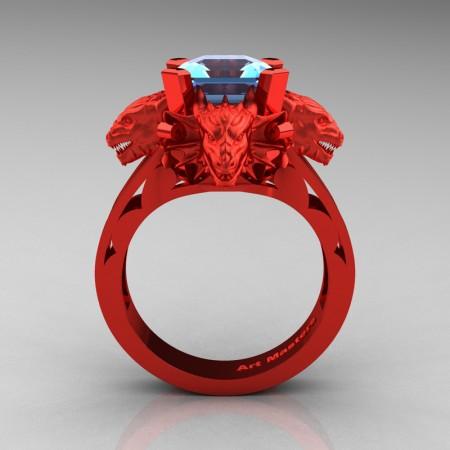 Victorian 14K Red Gold 3.0 Ct Asscher Cut Blue Topaz Dragon Engagement Ring R865-14KREGBT