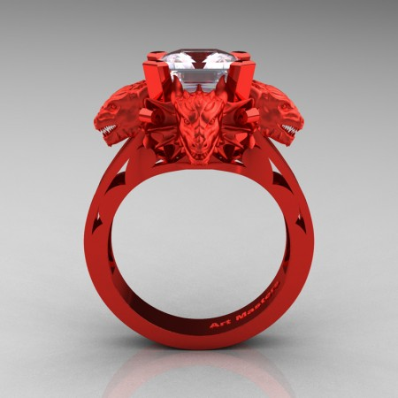 Victorian 14K Red Gold 3.0 Ct Asscher Cut White Sapphire Dragon Engagement Ring R865-14KREGWS