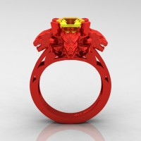 Victorian 14K Red Gold 3.0 Ct Asscher Cut Yellow Sapphire Dragon Engagement Ring R865-14KREGYS