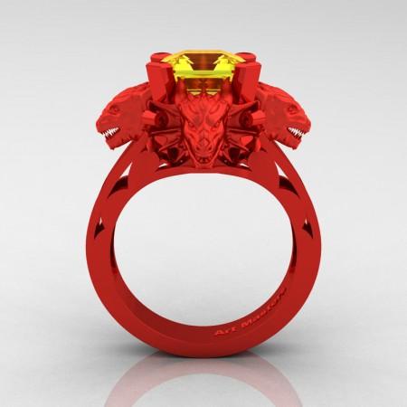Victorian 14K Red Gold 3.0 Ct Asscher Cut Yellow Sapphire Dragon Engagement Ring R865-14KREGYS