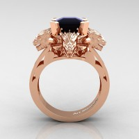 Victorian 14K Rose Gold 3.0 Ct Asscher Cut Black Sapphire Dragon Engagement Ring R865-14KRGBLS
