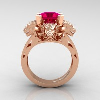 Victorian 14K Rose Gold 3.0 Ct Asscher Cut Rose Ruby Dragon Engagement Ring R865-14KRGRR