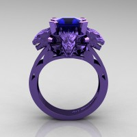 Victorian 14K Violet Gold 3.0 Ct Asscher Cut Blue Sapphire Dragon Engagement Ring R865-14KVGBS