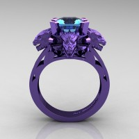 Victorian 14K Violet Gold 3.0 Ct Asscher Cut Blue Topaz Dragon Engagement Ring R865-14KVGBT