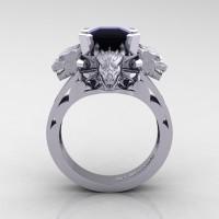 Victorian 14K White Gold 3.0 Ct Asscher Cut Black Sapphire Dragon Engagement Ring R865-14KWGBLS