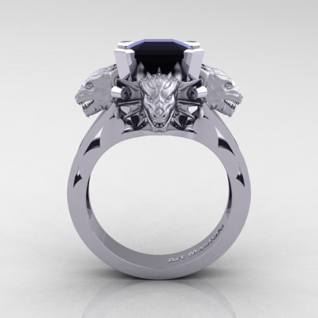 Victorian 14K White Gold 3.0 Ct Asscher Cut Black Sapphire Dragon Engagement Ring R865-14KWGBLS