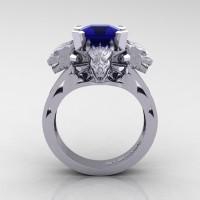 Victorian 14K White Gold 3.0 Ct Asscher Cut Blue Sapphire Dragon Engagement Ring R865-14KWGBS