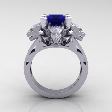 Victorian 14K White Gold 3.0 Ct Asscher Cut Blue Sapphire Dragon Engagement Ring R865-14KWGBS