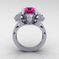 Victorian 14K White Gold 3.0 Ct Asscher Cut Pink Sapphire Dragon Engagement Ring R865-14KWGPS