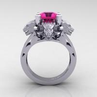 Victorian 14K White Gold 3.0 Ct Asscher Cut Pink Sapphire Dragon Engagement Ring R865-14KWGPS