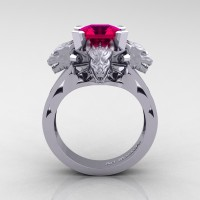 Victorian 14K White Gold 3.0 Ct Asscher Cut Rose Ruby Dragon Engagement Ring R865-14KWGRR