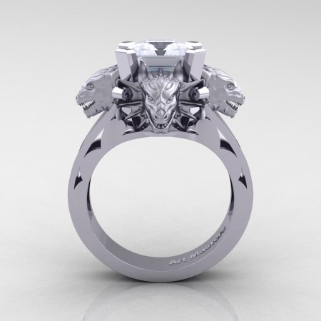 Victorian 14K White Gold 3.0 Ct Asscher Cut White Sapphire Dragon Engagement Ring R865-14KWGWS