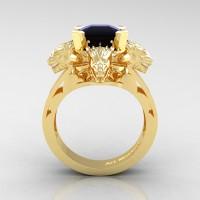 Victorian 14K Yellow Gold 3.0 Ct Asscher Cut Black Sapphire Dragon Engagement Ring R865-14KYGBLS