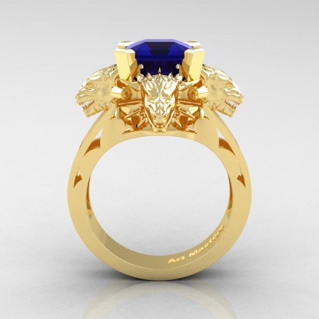 Victorian 14K Yellow Gold 3.0 Ct Asscher Cut Blue Sapphire Dragon Engagement Ring R865-14KYGBS