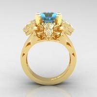 Victorian 14K Yellow Gold 3.0 Ct Asscher Cut White Sapphire Dragon Engagement Ring R865-14KYGBT