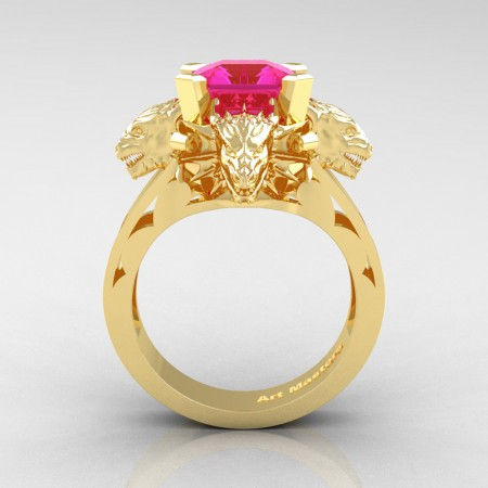 Victorian 14K Yellow Gold 3.0 Ct Asscher Cut Pink Sapphire Dragon Engagement Ring R865-14KYGPS