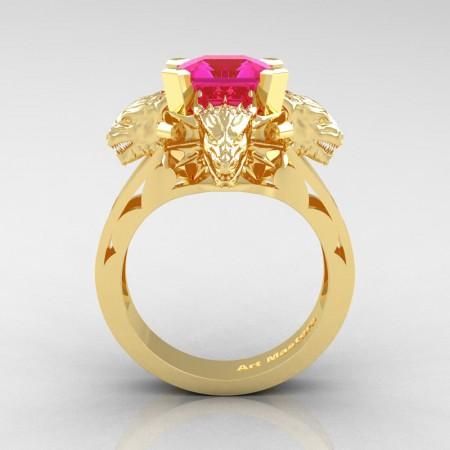 Victorian 14K Yellow Gold 3.0 Ct Asscher Cut Pink Sapphire Dragon Engagement Ring R865-14KYGPS
