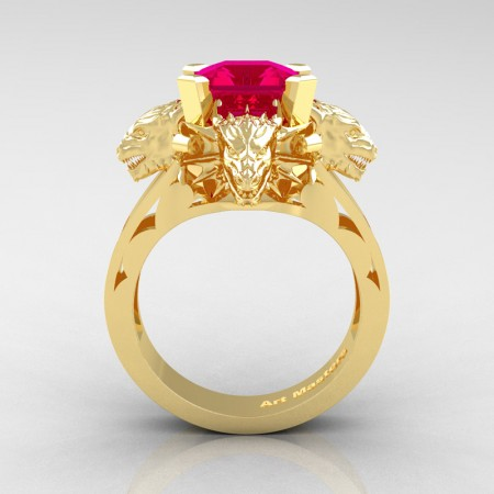 Victorian 14K Yellow Gold 3.0 Ct Asscher Cut Rose Ruby Dragon Engagement Ring R865-14KYGRR