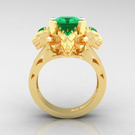Victorian 14K Yellow Gold 3.0 Ct Asscher Cut Emerald Capricorn Dragon Engagement Ring R865-14KYGEM
