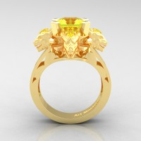 Victorian 14K Yellow Gold 3.0 Ct Asscher Cut Yellow Sapphire Capricorn Dragon Engagement Ring R865-14KYGYS