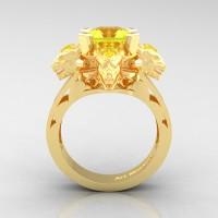 Victorian 14K Yellow Gold 3.0 Ct Asscher Cut Yellow Sapphire Capricorn Dragon Engagement Ring R865-14KYGYS