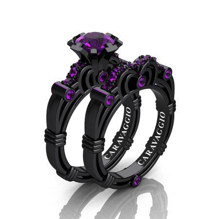 Art Masters Caravaggio 14K Black Gold 1.0 Ct Amethyst Engagement Ring Wedding Band Set R623S-14KBGAM