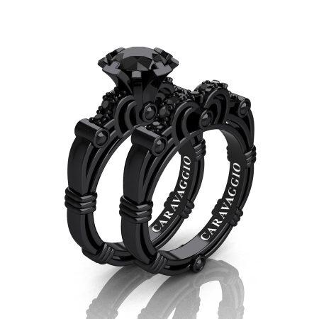 Art Masters Caravaggio 14K Black Gold 1.0 Ct Black Diamond Engagement Ring Wedding Band Set R623S-14KBGBD