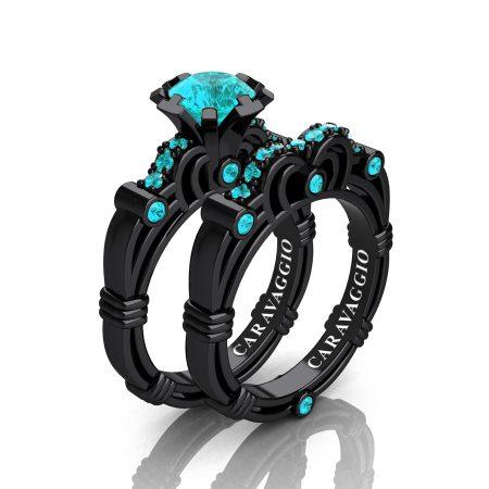 Art Masters Caravaggio 14K Black Gold 1.0 Ct Blue Diamond Engagement Ring Wedding Band Set R623S-14KBGBLD