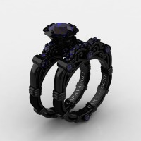 Art Masters Caravaggio 14K Black Gold 1.0 Ct Blue Sapphire Engagement Ring Wedding Band Set R623S-14KBGBS