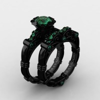 Art Masters Caravaggio 14K Black Gold 1.0 Ct Emerald Engagement Ring Wedding Band Set R623S-14KBGEM