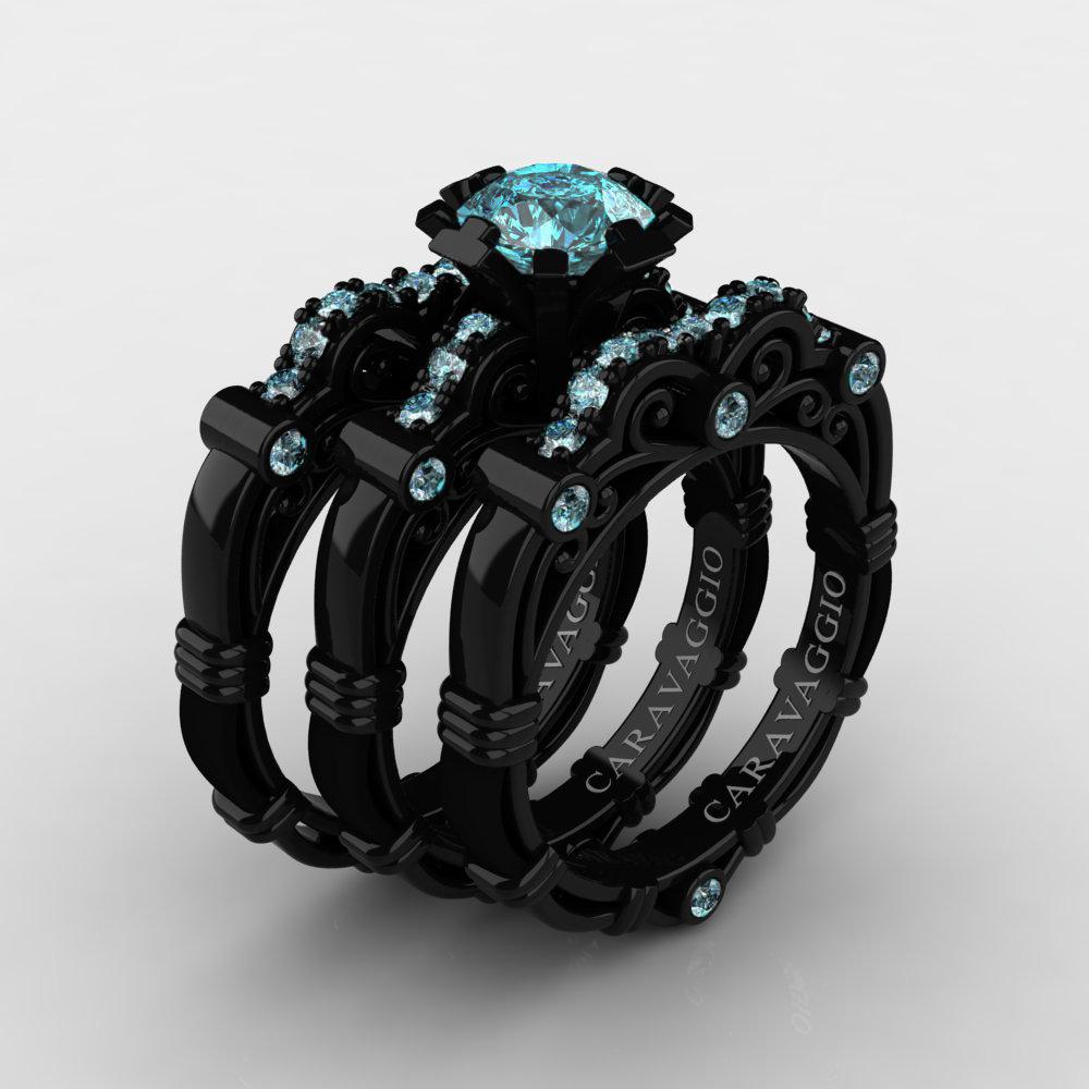 16711bf6148 Art Masters Caravaggio Trio 14K Black Gold 1.0 Ct Blue Diamond Engagement  Ring Wedding Band Set
