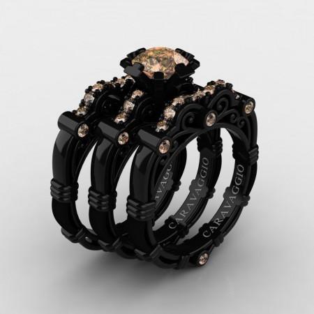 Art Masters Caravaggio Trio 14K Black Gold 1.0 Ct Champagne Diamond Engagement Ring Wedding Band Set R623S3-14KBGCHD