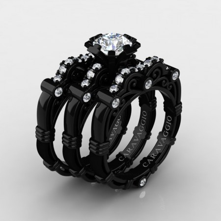 Art Masters Caravaggio Trio 14K Black Gold 1.0 Ct Certified Diamond Engagement Ring Wedding Band Set R623S3-14KBGCVSD