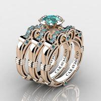 Art Masters Caravaggio Trio 14K Rose Gold 1.0 Ct Blue Diamond Engagement Ring Wedding Band Set R623S3-14KRGBLD
