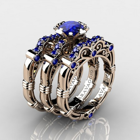 Art Masters Caravaggio Trio 14K Rose Gold 1.0 Ct Blue Sapphire Engagement Ring Wedding Band Set R623S3-14KRGBS
