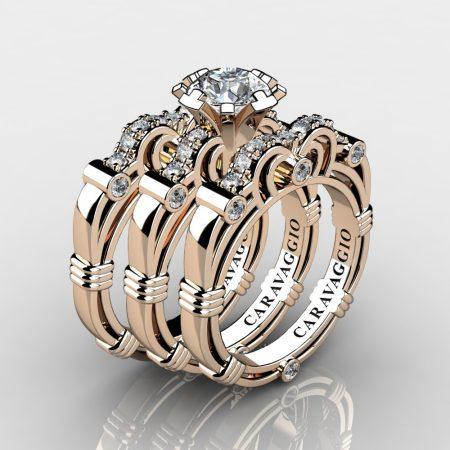 Art Masters Caravaggio Trio 14K Rose Gold 1.0 Ct Certified Diamond Engagement Ring Wedding Band Set R623S3-14KRGCVSD