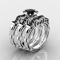 Art Masters Caravaggio Trio 14K White Gold 1.0 Ct Black Sapphire Engagement Ring Wedding Band Set R623S3-14KWGBLS