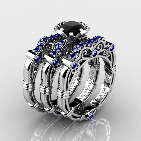 Art-Masters-Caravaggio-Trio-14K-White-Gold-1-Carat-Black-and-Blue-Sapphire-Engagement-Ring-Wedding-Band-Set-R623S3-14KWGBSBLS-P