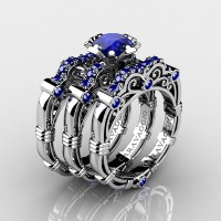 Art Masters Caravaggio Trio 14K White Gold 1.0 Ct Blue Sapphire Engagement Ring Wedding Band Set R623S3-14KWGBS