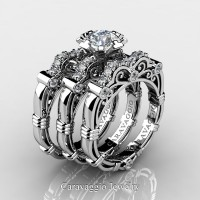 Art Masters Caravaggio Trio 14K White Gold 1.0 Ct Certified Diamond Engagement Ring Wedding Band Set R623S3-14KWGCVSD