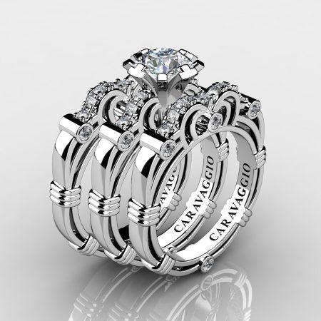 Art Masters Caravaggio Trio 14K White Gold 1.0 Ct Certified Diamond Engagement Ring Wedding Band Set R623S3-14KWGCVSD