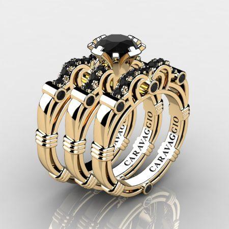 Art Masters Caravaggio Trio 14K Yellow Gold 1.0 Ct Black Diamond Engagement Ring Wedding Band Set R623S3-14KYGBD
