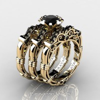 Art Masters Caravaggio Trio 14K Yellow Gold 1.0 Ct Black Sapphire Engagement Ring Wedding Band Set R623S3-14KYGBLS