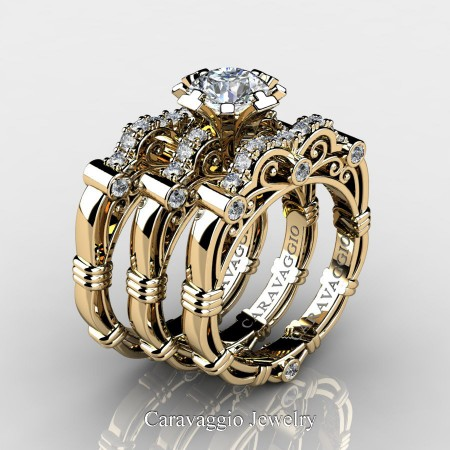 Art Masters Caravaggio Trio 14K Yellow Gold 1.0 Ct Certified Diamond Engagement Ring Wedding Band Set R623S3-14KYGCVSD
