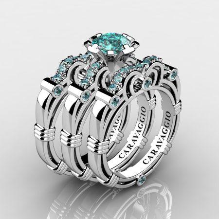 Art Masters Caravaggio Trio 950 Platinum 1.0 Ct Certified Blue Diamond Engagement Ring Wedding Band Set R623S3-PLATCVSBLD