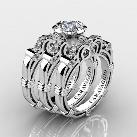 Art Masters Caravaggio Trio 950 Platinum 1.0 Ct Certified Diamond Engagement Ring Wedding Band Set R623S3-PLATCVVSD