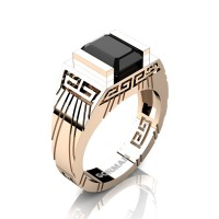 Mens Modern 14K Rose Gold 3.0 Carat Emerald Cut Black Sapphire Aztec Wedding Ring G1294-14KRGBLS