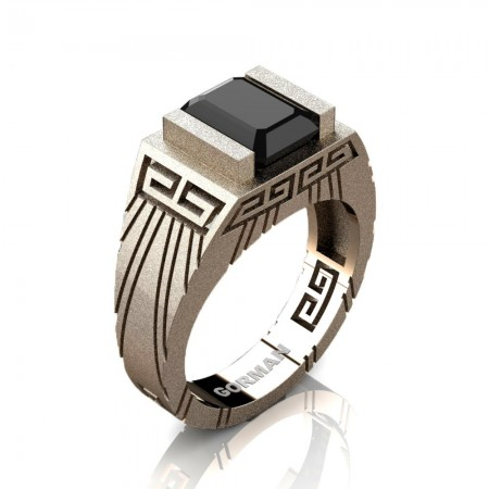 Mens Modern 14K Rose Gold Sandblast 3.0 Carat Emerald Cut Black Sapphire Aztec Wedding Ring G1294-14KSRGBLS