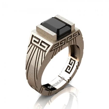 Mens Modern 14K Rose Gold Sandblast 3.0 Carat Emerald Cut Black Sapphire Aztec Wedding Ring G1294-14KSRGBLS