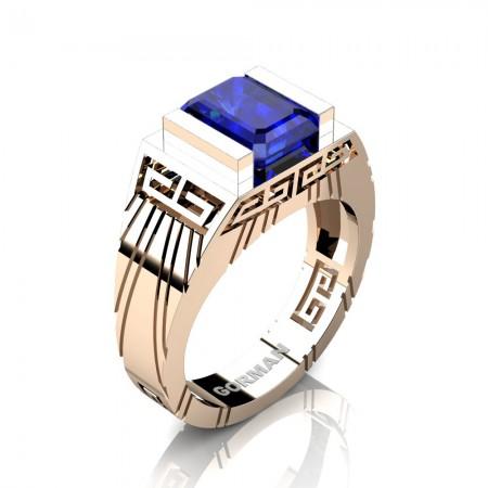 Mens Modern 14K Rose Gold 3.0 Carat Emerald Cut Blue Sapphire Aztec Wedding Ring G1294-14KRGBS